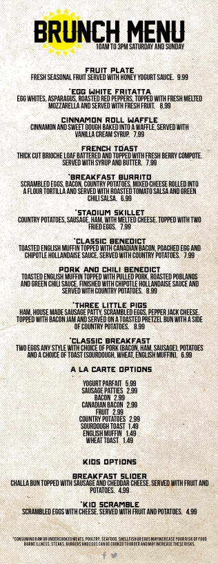 SSG Brunch Menu